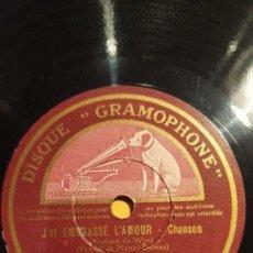 Discos de pizarra: DISCO 78 RPM - GRAMOPHONE - ELYANE CELIS - ORQUESTA - FRANCIA - CHANSON - CARIVEN - PIZARRA. Lote 151357834