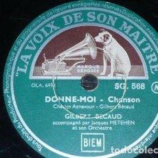 Discos de pizarra: DISCO 78 RPM - VSM - GILBERT BECAUD - ORQUESTA - FRANCIA - CHANSON - DONNE MOI - MES MAINS - PIZARRA. Lote 151358546