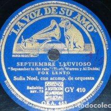 Discos de pizarra: DISCO 78 RPM - VSA - SOFIA NOEL - FOX LENTO - SEPTIEMBRE LLUVIOSO - QUEJA - PIZARRA. Lote 151371698