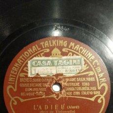 Discos de pizarra: DISCO 78 RPM - ODEON - BERTHELIER - VIOLONCELLO - PARIS - OPERA - L´ADIEU - ALARD - GRIEG - PIZARRA. Lote 151400622