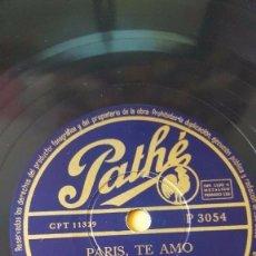 Discos de pizarra: DISCO 78 RPM - PATHE - AIME BARELLI - ORQUESTA - PARIS, TE AMO - C´EST MAGNIFIQUE - PIZARRA. Lote 151845206