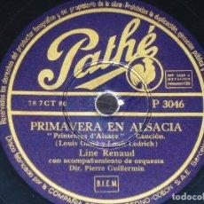 Discos de pizarra: DISCO 78 RPM - PATHE - LINE RENAUD - PRIMAVERA EN ALSACIA - EL PERRO EN EL ESCAPARATE - PIZARRA. Lote 151861358