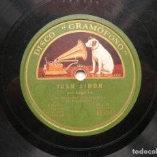 Discos de pizarra: ANGELILLO. JUAN SIMÓN./ LA MADRE MIA ( MALAGUEÑA ).DISCO GRAMOFONO RPM LA VOZ DE SU AMO.. Lote 151895494