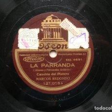 Discos de pizarra: MARCOS REDONDO.LA PARRANDA.CANCIÓN DEL PLATERO./ CANTO A MURCIA. DISCO RPM ODEON.. Lote 151896770