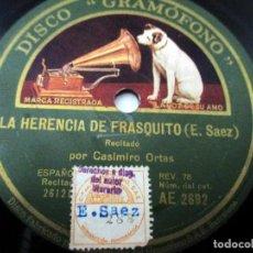 Discos de pizarra: CASIMIRO ORTAS 'LA HERENCIA DE FRASQUITO' / 'ORTAS CON SUS AUTORES'. Lote 151948738