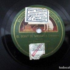 Discos de pizarra: CASIMIRO ORTAS 'EL DEBUT DE SIMEÓN' / CLASE DE GRAMÁTICA DISCO PIZARRA PARA GRAMÓFONO.. Lote 151950586