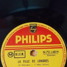 Discos de pizarra: DISCO 78 RPM - PHILIPS - CATHERINE SAUVAGE - MICHEL LEGRAND - ORQUESTA - PARIS CANAILLE - PIZARRA. Lote 152005822