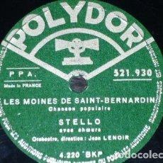 Discos de pizarra: DISCO 78 RPM - POLYDOR - STELLO - CORO - JEAN LENOIR - CHANSON POPULAIRE - FRANCIA - PIZARRA. Lote 152019334