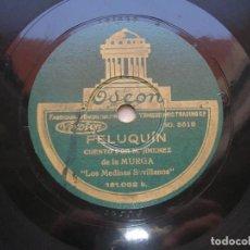 Discos de pizarra: LOS MEDINAS SEVILLANOS ( MURGA ). PELUQUIN./ LA CHUNGA. DISCO 78 RPM ODEON. Lote 152027394