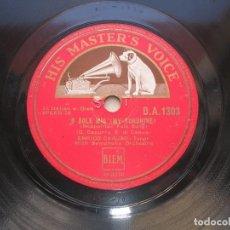 Discos de pizarra: ENRICO CARUSO. O SOLE MIO./ LA DONNA É MOBILE.DISCO 78 RPM HIS MASTER´S VOICE.. Lote 152028138