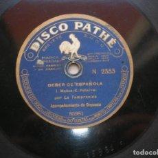 Discos de pizarra: LA TEMPRANICA ( JOTAS ). DEBER DE ESPAÑOLA./ DE PERCHEL. DISCO 78 RPM PATHÉ.. Lote 152031650