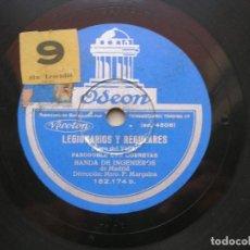 Discos de pizarra: BANDA DE INGENIEROS DE MADRID. LEGIONARIOS Y REGULARES./ FAGINA. DISCO 78 RPM ODEON.. Lote 152033002
