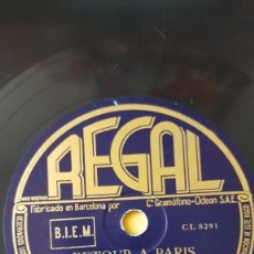 Discos de pizarra: DISCO 78 RPM - REGAL - CHARLES TRENET - ORQUESTA - RETOUR A PARIS - LE RETOUR DES SAISONS - PIZARRA. Lote 152033726