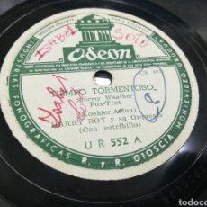 Discos de pizarra: HARRY ROY DISCO DE PIZARRA TIEMPO TORMENTOSO - LUNA AZUL .URUGUAY. Lote 152182557