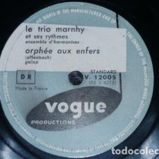 Discos de pizarra: DISCO 78 RPM - VOGUE - LE TRIO MARNHY - HARMONICAS - ORPHEE AUX ENFERS - LE TRAIN - PIZARRA. Lote 152207986