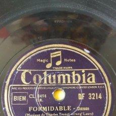 Discos de pizarra: DISCO 78 RPM - COLUMBIA - CHARLES TRENET - ORQUESTA - FRANCIA - FORMIDABLE - CHANSON - PIZARRA. Lote 153323130