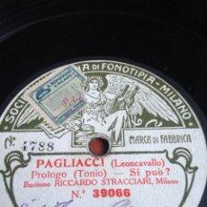 Discos de pizarra: PAGLIACI LEONCAVALLO PRÓLOGO TONIO. Lote 153376197
