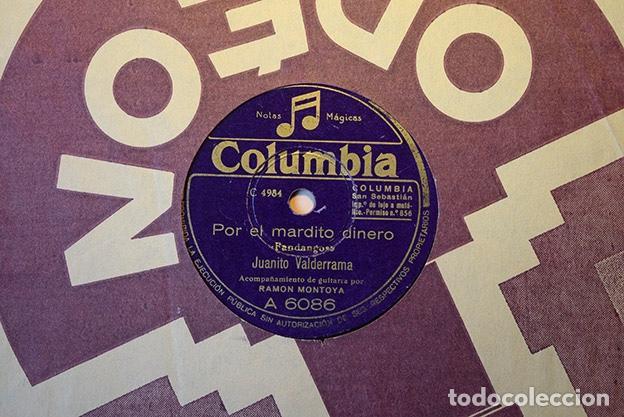 JUANITO VALDERRAMA + RAMÓN MONTOYA,1948: POR EL MARDITO DINERO · DE SAN FERNANDO A CÁDIZ. A 6086 (Música - Discos - Pizarra - Flamenco, Canción española y Cuplé)