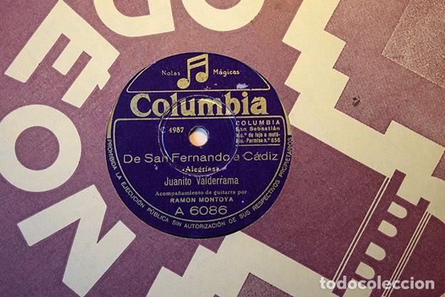 Discos de pizarra: Juanito Valderrama + Ramón Montoya,1948: Por el mardito dinero · De San Fernando a Cádiz. A 6086 - Foto 2 - 153395582