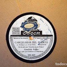 Discos de pizarra: CONCHITA PIQUER (1940): CARCELERAS DEL PUERTO · UN HOMBRE CANTA Y UNA MUJER LLORA. ODEON ?184.437. Lote 153395802
