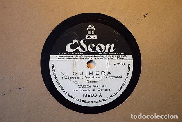 Discos de pizarra: Carlos Gardel (1933): Quimera · Mi primer goal. Odeón Argentina 18903 - Foto 2 - 153396522