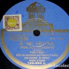 Discos de pizarra: DISCO 78 RPM - ODEON - EMILIO VACHER - ACORDEON - FOXTROT - A MI NOVIA - VALS - PIZARRA. Lote 153624130