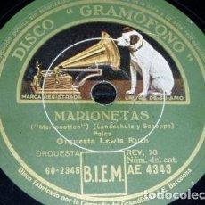 Discos de pizarra: DISCO 78 RPM - GRAMOFONO - MAREK WEBER - LEWIS RUTH - ORQUESTA - MARIONETAS - POLCA - PIZARRA. Lote 153846882