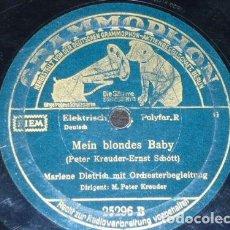 Discos de pizarra: DISCO 78 RPM - POLYDOR - MARLENE DIETRICH - ORQUESTA - MEIN BLONDES BABY - ALEMANIA - PIZARRA. Lote 153868766