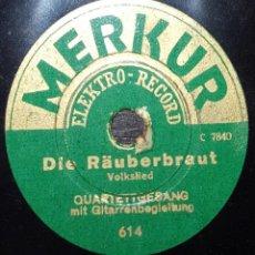 Discos de pizarra: DISCO 78 RPM - MERKUR 20 CM - QUARTETTGESANG - VOLKSLIED - MARSCHLIED - ALEMAN - RARO - PIZARRA. Lote 154163894