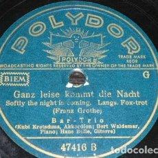 Discos de pizarra: DISCO 78 RPM - POLYDOR - BAR TRIO - FOXTROT - JAZZ ALEMAN - PIANO - GUITARRA - GROTHE - PIZARRA. Lote 154259942