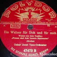Discos de pizarra: DISCO 78 RPM - POLYDOR - OSKAR JOOST TANZ ORCHESTER - ALEMANIA - GROTHE - PIZARRA. Lote 154264862