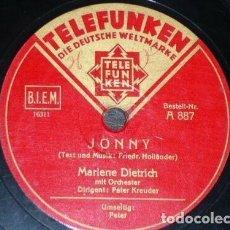 Disques en gomme-laque: DISCO 78 RPM - TELEFUNKEN - MARLENE DIETRICH - ORQUESTA - PETER - JONNY - ALEMANIA - PIZARRA. Lote 154268642
