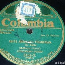 DISCO 78 RPM - COLUMBIA - GUILLERMO GOMEZ - GUITARRA - SUITE ANDALUZA - TRIANERIAS - PIZARRA