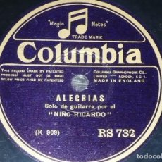 DISCO 78 RPM - COLUMBIA - NIÑO RICARDO - GUITARRA - VARIACIONES POR GRANADINA - ALEGRIAS - PIZARRA