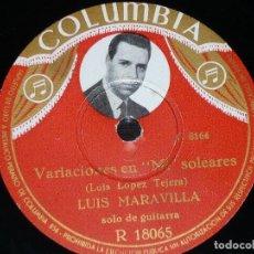 Discos de pizarra: DISCO 78 RPM - COLUMBIA FOTO - LUIS MARAVILLA - GUITARRA - ALEGRIAS - SOLEARES - PIZARRA. Lote 154278870