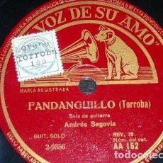 Discos de pizarra: DISCO 78 RPM - VSA - ANDRES SEGOVIA - GUITARRA - PRELUDIO - FANDANGUILLO - TORROBA - PIZARRA. Lote 154932802