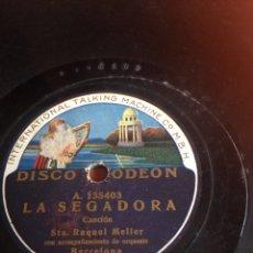 Discos de pizarra: LA SEGADORA RAQUEL MELLER. Lote 154965542
