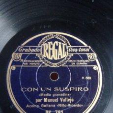 Discos de pizarra: CON UN SUSPIRO MANUEL VALLEJO. Lote 155287232