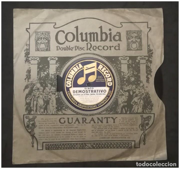 DISCO PUBLICITARIO DE COLUMBIA EN PIZARRA, DOS CARAS .CON SU FUNDA. MUY RARO (Música - Discos - Pizarra - Otros estilos)