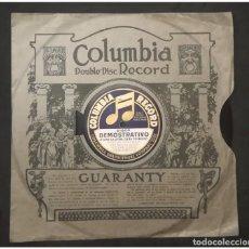 Discos de pizarra: DISCO PUBLICITARIO DE COLUMBIA EN PIZARRA, DOS CARAS .CON SU FUNDA. MUY RARO. Lote 155357498