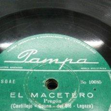 Discos de pizarra: ANTONIO MOLINA- EL MACETERO / ALEGRIAS- DISCOS DE 78 RPM PAMPA ( ARGENTINOS). Lote 155509234