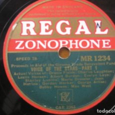 Discos de pizarra: VOICE OF THE STARS - C.LAUGHTON,JEAN HARLOW,MAE WEST,ETC.SELLO REGAL ZONOPHONE 10''. Lote 155519374