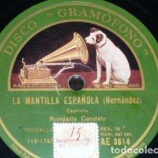 Discos de pizarra: DISCO 78 RPM - GRAMOFONO - RONDALLA CANDELA - GUITARRA - LA DOLORES - BRETON - CAPRICHO - PIZARRA. Lote 155556862