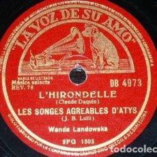 Discos de pizarra: DISCO 78 RPM - VSA - WANDA LANDOWSKA - CLAVICORDIO - DAQUIN - LULLI - CHAMBONNIERES - PIZARRA. Lote 155560238