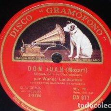 Discos de pizarra: DISCO 78 RPM - GRAMOFONO - WANDA LANDOWSKA - CLAVICORDIO - DON JUAN - MOZART - DANQUIN - PIZARRA. Lote 155563502
