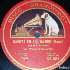 Discos de pizarra: DISCO 78 RPM - GRAMOFONO - WANDA LANDOWSKA - CLAVICEMBALO - GAVOTA EN SOL MENOR - BACH - PIZARRA. Lote 155564270