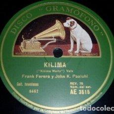 Discos de pizarra: DISCO 78 RPM - GRAMOFONO MUESTRA - FERERA - PAALUHI - HAWAII - GUITARRAS - KILIMA - VALS - PIZARRA. Lote 156024162