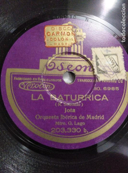 Discos de pizarra: Disco de gramófono LA BATURRICA / LA MESONERA DE TORDESILLAS - Foto 2 - 156028638