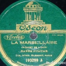 Discos de pizarra: DISCO 78 RPM - ODEON - BANDA MILITAR - HIMNO - LA MERSEILLAISE - SAMBRE ET MEUSE - MARCHA - PIZARRA. Lote 156035670