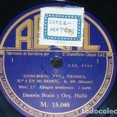 Discos de pizarra: 2 DISCOS 78 RPM - REGAL - DENNIS BRAIN - ORQUESTA HALLE - CONCIERTO PARA TROMPA - MOZART - PIZARRA. Lote 156037970